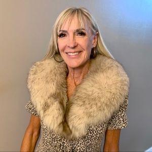 Authentic silver fox fur collar wrap scarf style